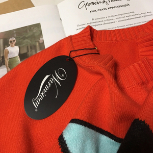 Image 5 - Fall Winter Women Sweater Thick Warm Animal Pattern O Neck Long Sleeve Orange Fashion Knitted Pullovers Casual Top C 306