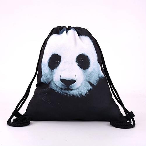 2020 Unisex 3D Cute Panda Print Print Drawstring Backpack Travel Knapsack Satchel Bag