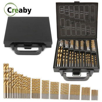 99pcs 1.5-10mm Titanium Coated Drill Bit Set High Speed Steel Manual Twist Drill Bits For Wood Plastic And Aluminum With Box 99 pcs manual 1 5mm 10mm twist drill bits gold titanium coated brocas high speed steel drill for metalworking drilling tools