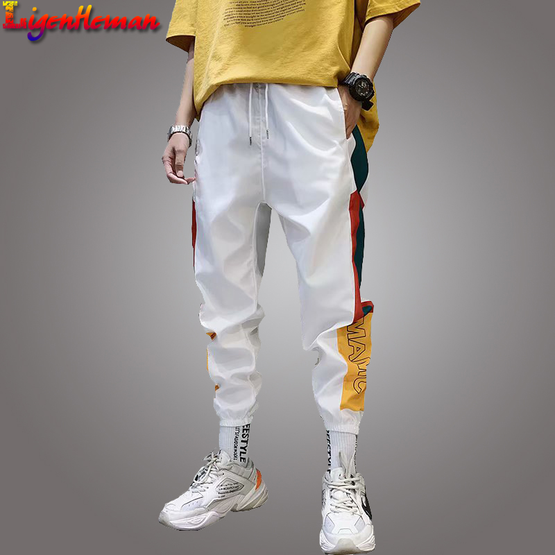 Fashion Men Casual Cargo Pant Trousers High Street Elastic Waist Harem Pant Men Hip Hop Streetwear Men's Splice Joggers Pants