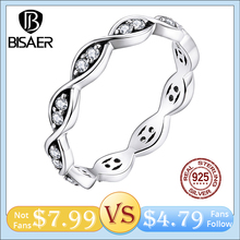 BISAER Infinite love Ring 100% 925 Sterling Silver Statement Geometry Finger Rings For Wome