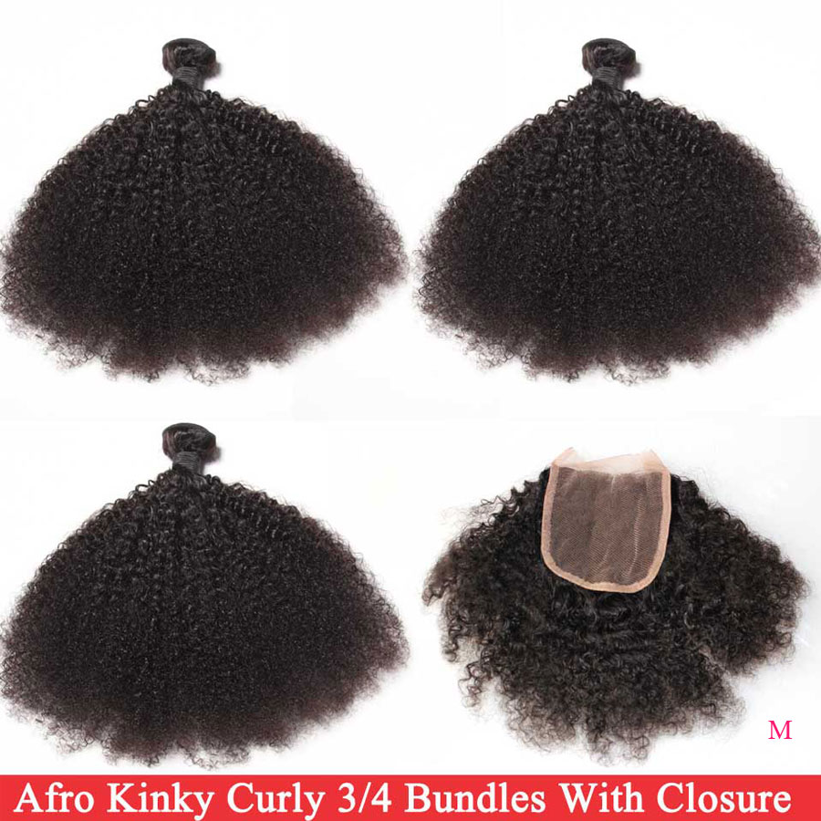 Mongolian Afro Kinky Curly Bundles With Closure 3/4 Bundles With Closure Free/Middle Part Remy Human Hair Bundles With Closure