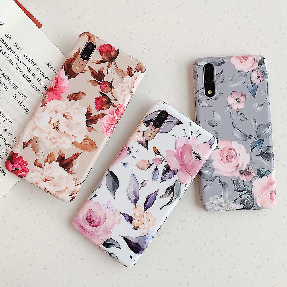 ฝาครอบโทรศัพท์สำหรับ Huawei Mate 20 Pro P30 P20 Lite Soft สำหรับ Huawei P20 Lite Vintage ดอกไม้กล้วยใบปกหลัง