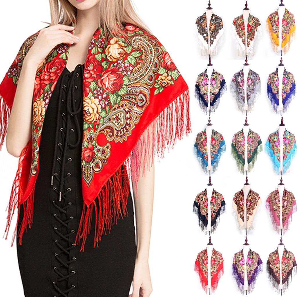 Fashion Russian Women Tassel Square Scarf Shawl Lady Printed Floral Short Tassel Headband Retro Cape Wrap Scarves #35