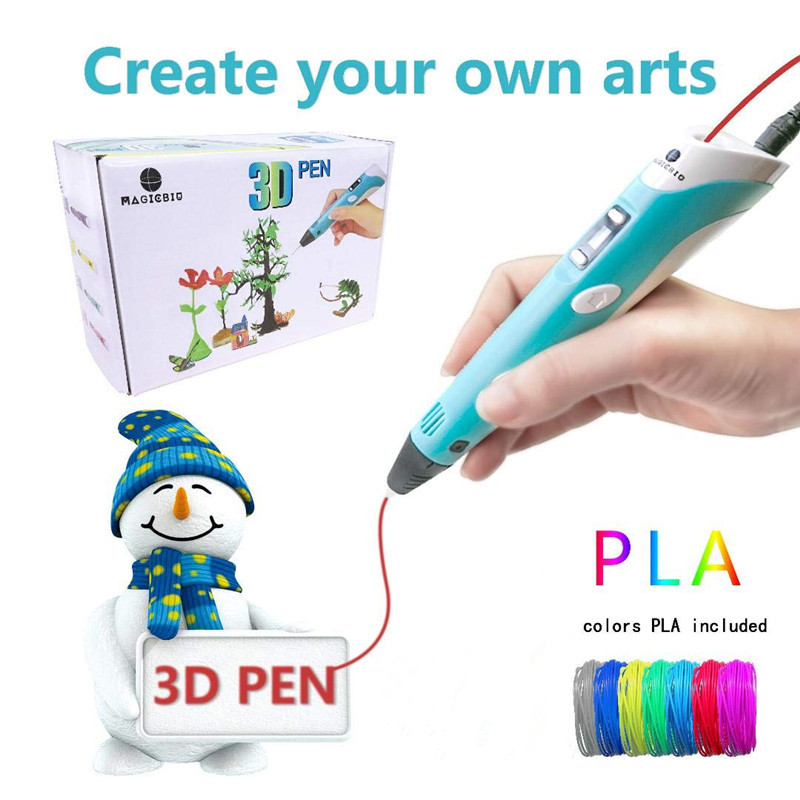 New 3D Pen LED Screen DIY 3D Printing Pen 72m ABS Filament Creative Toy Gift For Kids Design Drawing