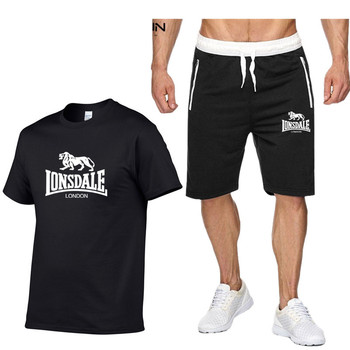 Fashion Men Summer LONSDALE Sportswear Sets Short sleeve T-shirts+ Short Pants Tracksuit Hip Hop Sets Sportswear Mens Clothing цена 2017