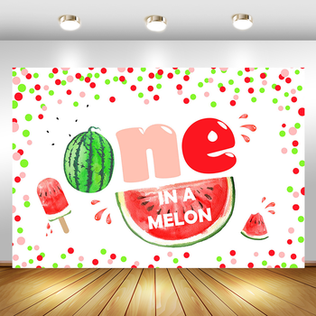 MOCSICKA Watermelon Theme One in a Melon Backdrop Kids Happy 1st First Birthday Party Banner Summer Fruit Photography Background