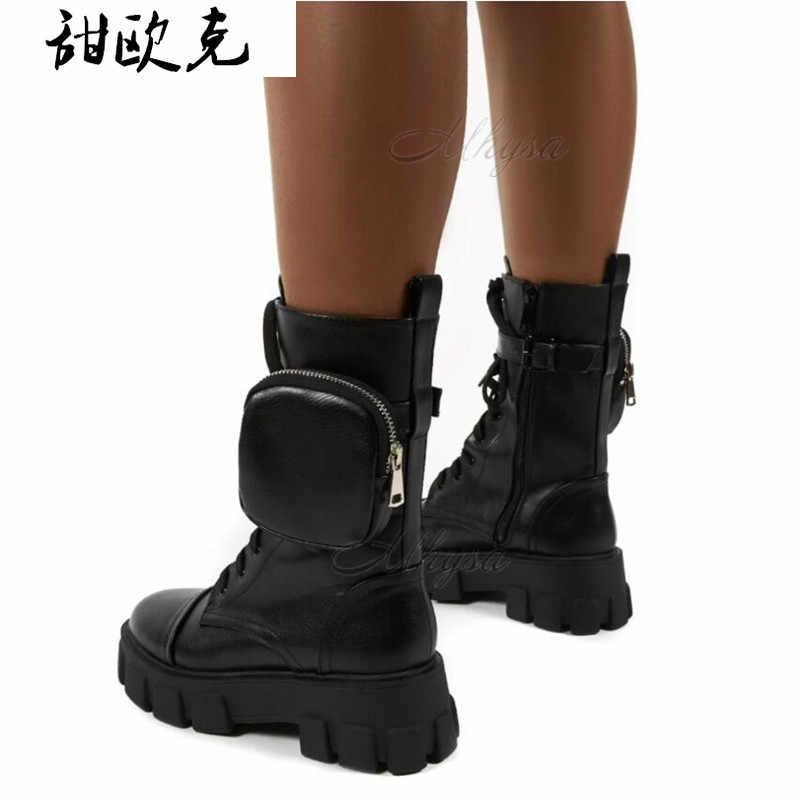 Phụ Nữ Túi Giày Boot Phối Ren Nữ Cổ Chân Giày Nữ Khóa Dây Đen Chun Đế Túi Mắt Cá Chân Giày Người Phụ Nữ Đế Giày thời Trang