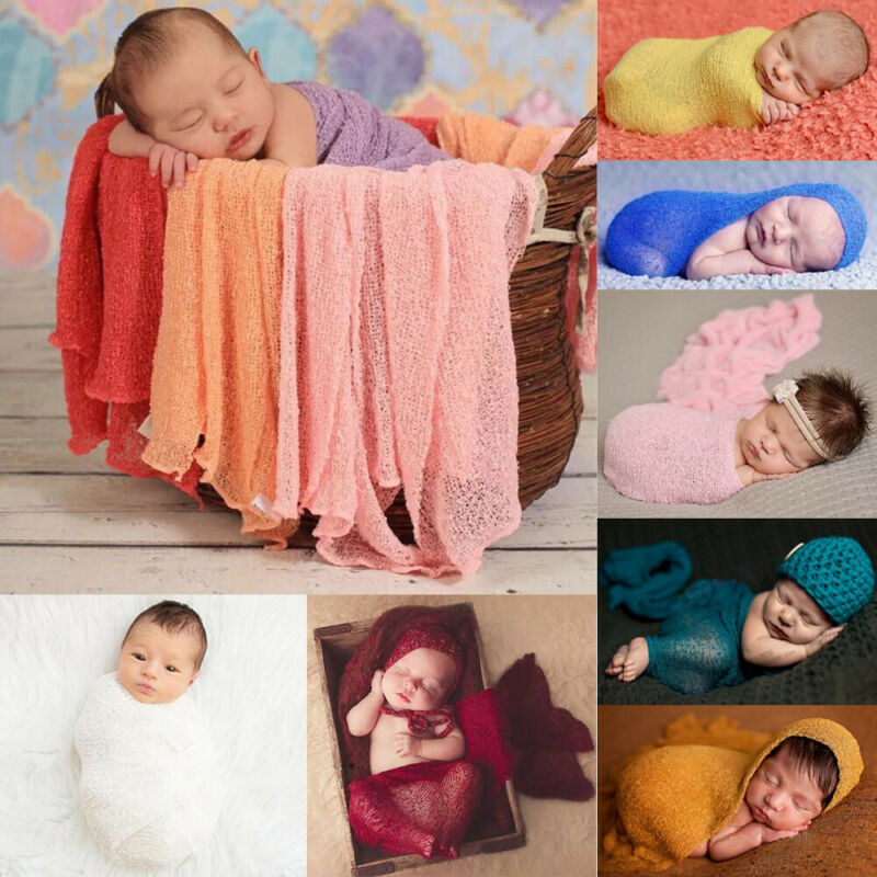 40*150cm New Ivory Stretch Knit Wrap Newborn Photography Prop Baby Kid Swaddle Cozy Wraps Swaddling 0-12M