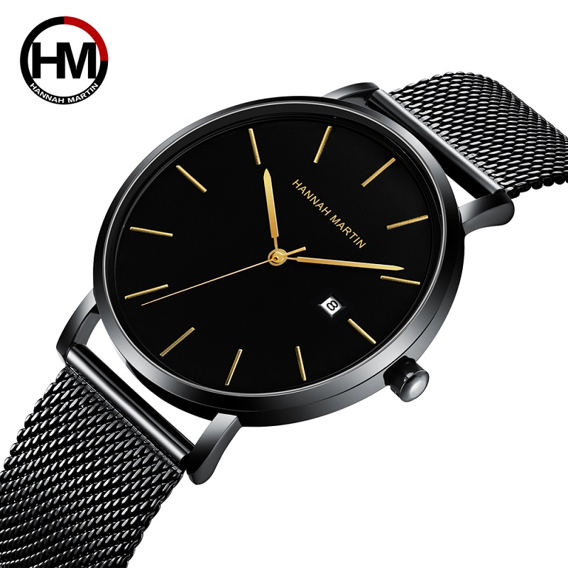 Hannah Martin Relogio Masculino Mens Business Watches Luxury Casual Waterproof Sport Watch Quartz Slim Mesh Watch Reloj Hombre|Quartz Watches| |  - title=