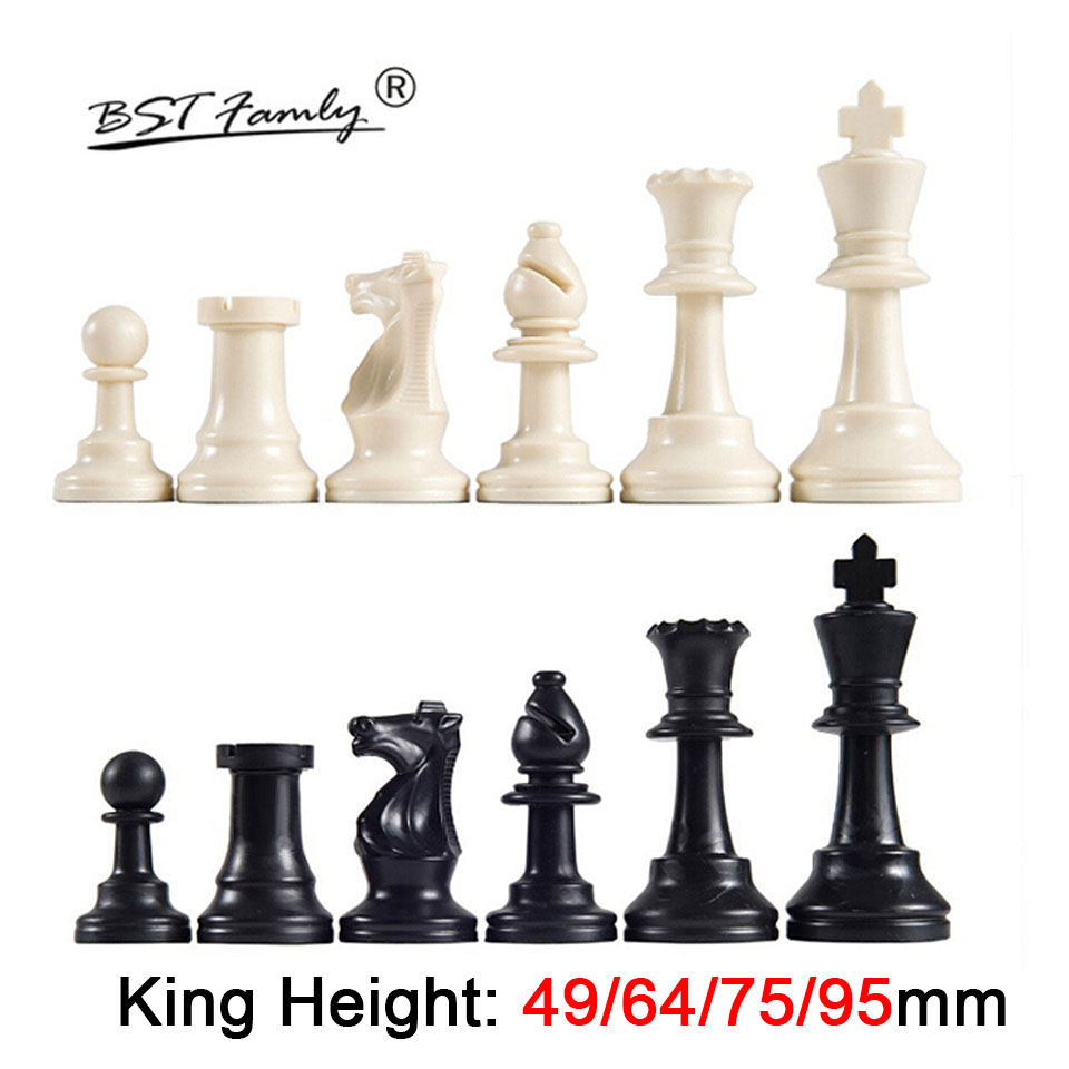 Plastic Chess Pieces 32 Pcs Chess Set King Height 49/64/75/95 Mm Chess Game Standard Medieval Chessmen For Travel Games IA13