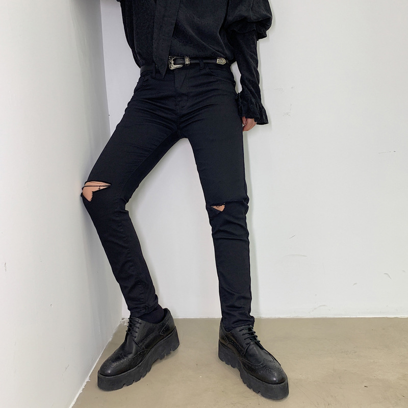 Korean-style With Holes Skinny Pants Elegant Men Autumn Dark Knee Damage Slim Fit Jeans Versatile Men's Pencil Pants