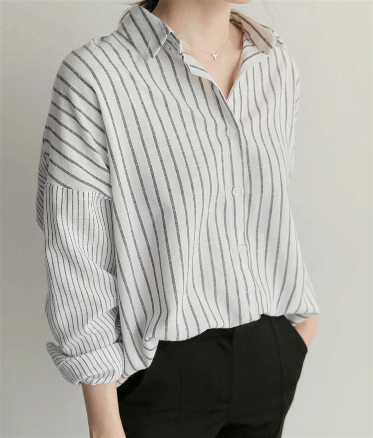 New 2019 Fall Spring Women's Blouse Casual Fashionable Korean Style Striped Shirt Office Lady Loose Clothes Tunika Tops BL1637