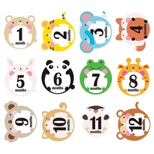 12 Pcs Cartoon Months Cards Skills Cards Memorial Stickers Newborn Photography Props Memory Recording Milestone Stickers