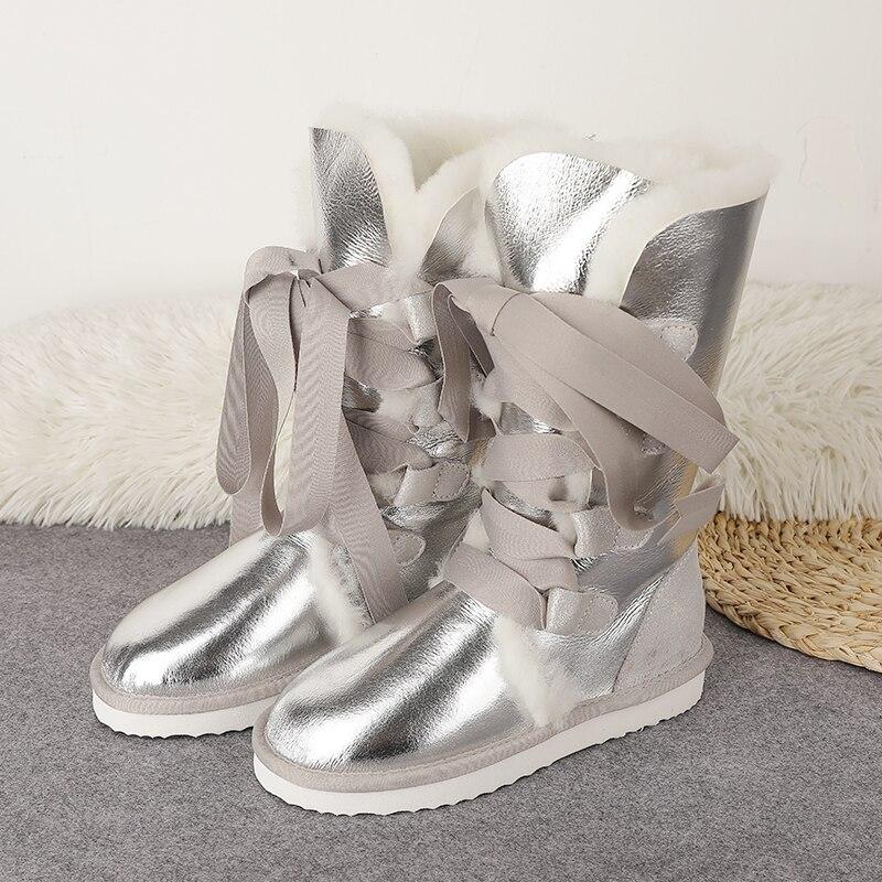 2020 Beautiful New Lace Up Shoes Women Genuine Sheepskin Real Fur 100% Wool Women Winter Snow BootsBrand Boots Free Shipping