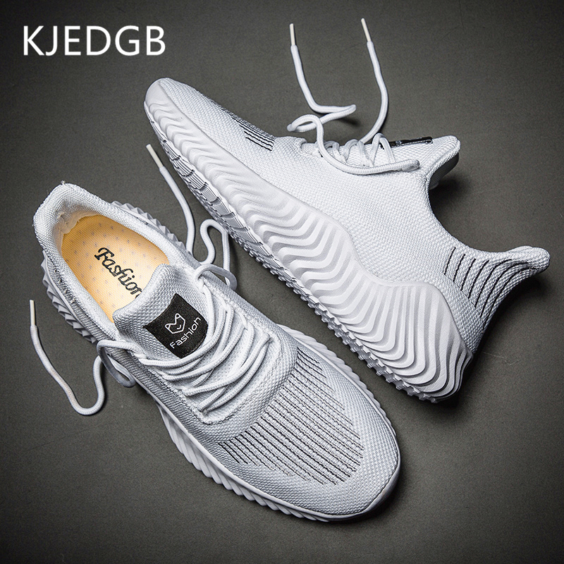 KJEDGB 2020 New Ultralight Men Casual Shoes Solid Black White Gray Breathable Comfortable Sneakers Big Size