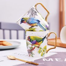 400ml Elegant Flying Bird Ceramic Coffee Tea Mugs with gold paint Handle Drinkware Countryside Gardens Mugs Gift Set set mugs lefard 350 ml 7 items with stand