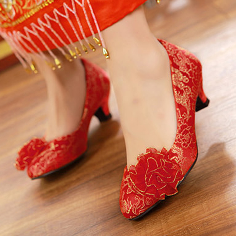 7006-16 Chinese Style Wedding Shoes Bridal Shoes Dragon And Phoenix Gown Retro WOMEN'S Shoes Satin Marriage Cheongsam Embroidere