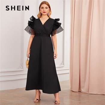 SHEIN Plus Size Black V Neck Exaggerated Ruffle Surplice Flared Party Dress Women Autumn Short Sleeve Ladies A Line Maxi Dresses