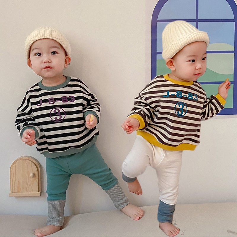 Spring New Baby Girls Sweatshirts Set Long Sleeve Tops + Pants Kids Toddler Boys Pullover Stripe Sweatshirt T-shirt Clothes Set 1