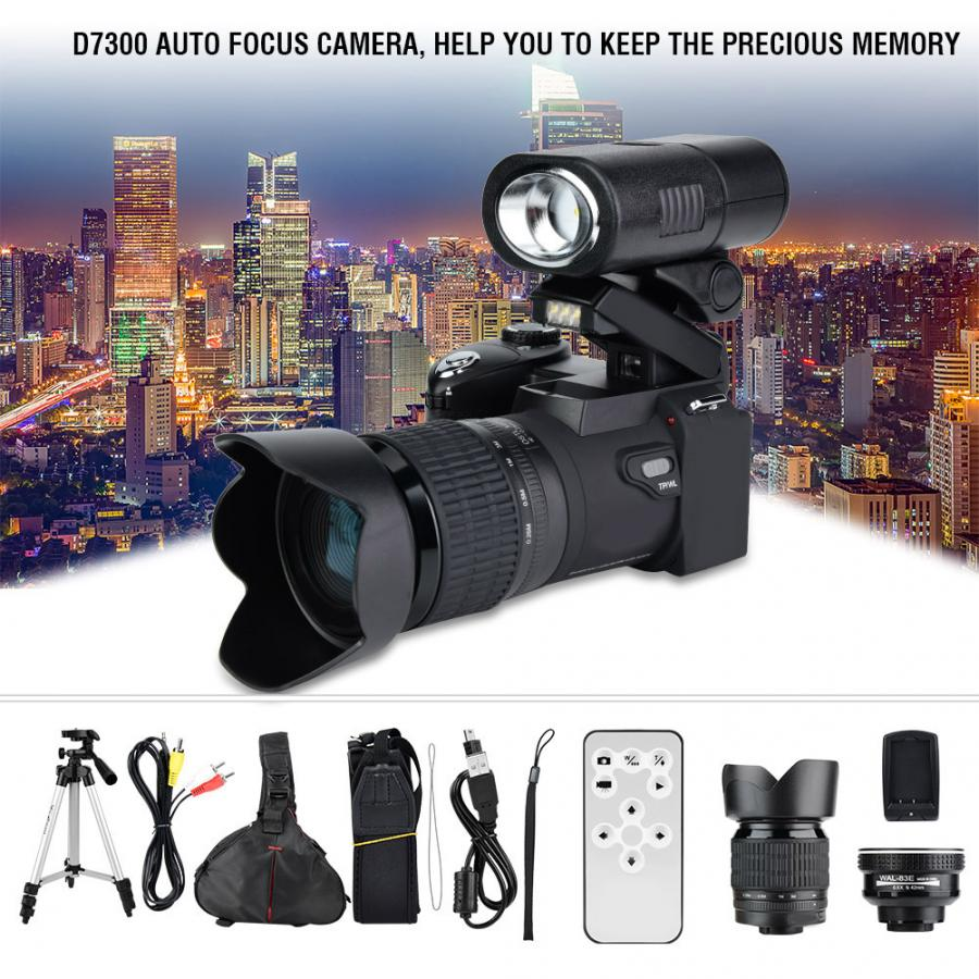 33MP HD D7300 Camcorder Camera Wide Angle Lens + 24X Telephoto Lens + LED + Tripod Set camera profissional digital camera