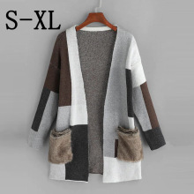 Mooirue Autumn Long Sweater Cardigan Women Plush Color Stitching Vintage Streetwear Casual Coat Pockets  Kintting Tops
