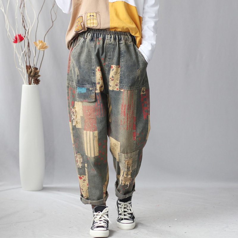 Ripped Holes Denim Pants Women Boyfriend Hip Hop Cowboy Harem Trousers Elastic Waist Print Travel Jeans Baggy Europe Joggers