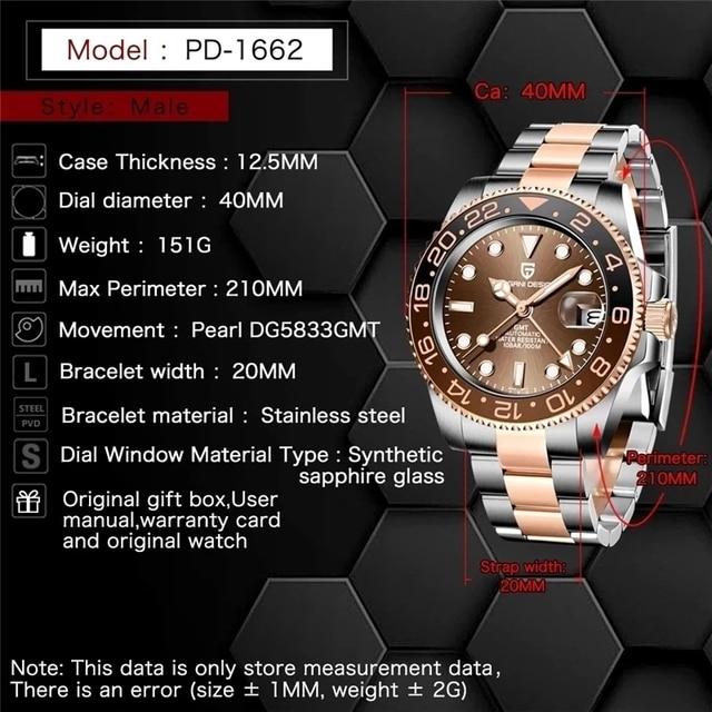 PAGANI DESIGN GMT 40mm Mechanical Wristwatch Men's Top Brand Stainless Steel Sports Waterproof Automatic Watch Relogio Masculino 3