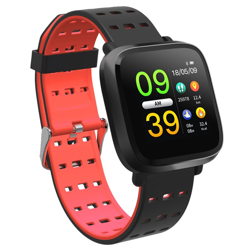 BESTSmart Watch Men Blood Pressure IP67 Waterproof Fitness Tracker Clock Smartwatch For IOS Android Wearable Devices Black Red image