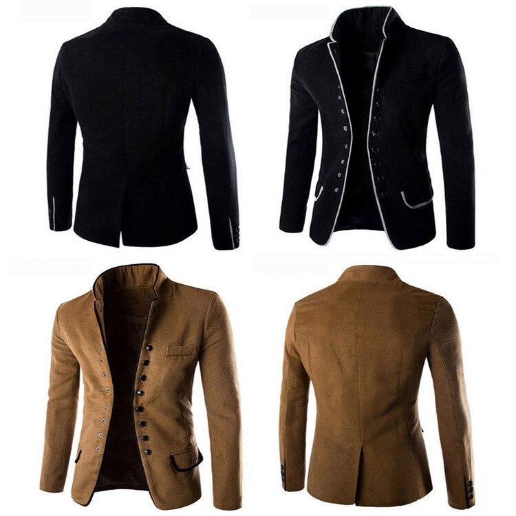 Autumn Khaki Slim Fit Blazer Men Casual Woolen Suit Blazer Male Suit Mens Fashion Party Blazer Stand Collar Plus Size Boys Tops