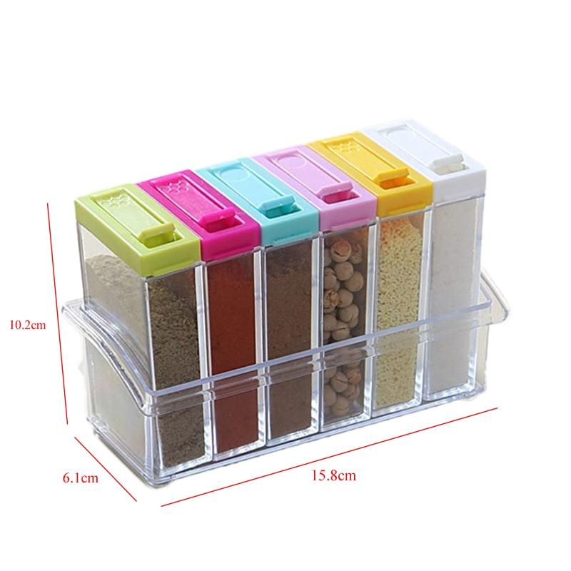 Kitchen Seasoning Bottles Boxes Jars 6Pcs/Set Plastic Spice Storage Organizer Box Salt Pepper BBQ Seasoning Bottles Kitchen Tool