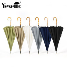 Yesello Bamboo Handle Strong Long Rain Umbrella Women Men 16K Glassfiber Japanese style Parasol(China)