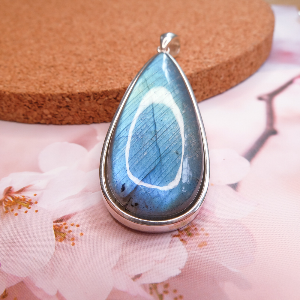 Large Simple Labradorite Pendant 925 Sterling Silver Net Through Indian Handmade Silver Ornaments Europe and America Couples