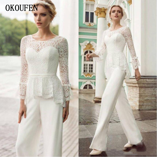 2019 Mother Of The Bride Dresses Jumpsuits Lace Top Chiffon White Pants Wedding Guest Wear Formal Mother's Groom Long Sleeves