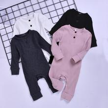 0-24 M Toddler Baby Girls Clothes Basic Pure Color Outfit Long Sleeve Cotton Romper Solid Jumpsuit Clothing