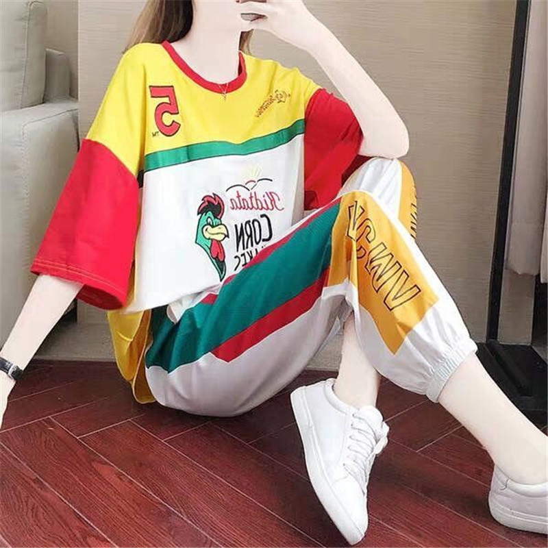 Sports Suit Women's Fashion 2020 Summer New Loose Streetwear Two-piece Set Casual Wear Women Sweat Suit Set Tops And Blouses