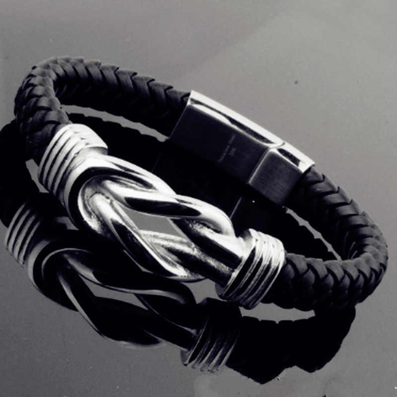 Мужской крутой черный панк рок браслет из натуральной кожи Золотая магнитная застежка для браслета из нержавеющей стали