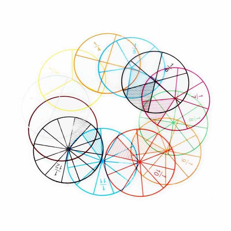 12 Uds. Herramienta de aprendizaje de fracción de matemáticas para niños, herramienta de aprendizaje de fracción de matemáticas portátil de plástico, regalo de juguetes educativos