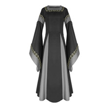 Vintage Women Lace Patchwork Medieval Flare Sleeves Long Maxi Dress Ankle Length Cosplay Party Costume Vestido