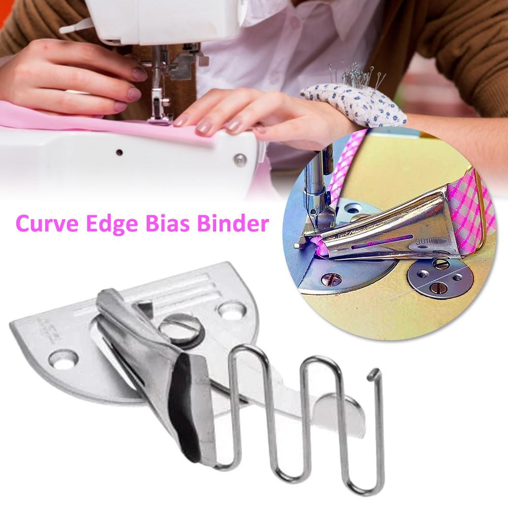Curve Edge Bias Binder Right-Angle Edging Tube Four-Fold Curling Device Adjustable Industrial Sewing Machine Binding Attachment PSSS Curve Edge Bias Binder