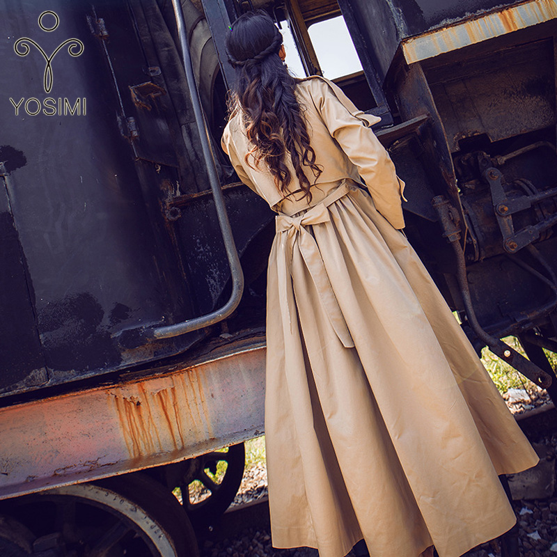 YOSIMI 2019 Autumn Winter Maxi Women Long   Trench   Coat Belt Turn-down Collar Full Sleeve Skirt Stlye Large Size S-XXL Windbreaker