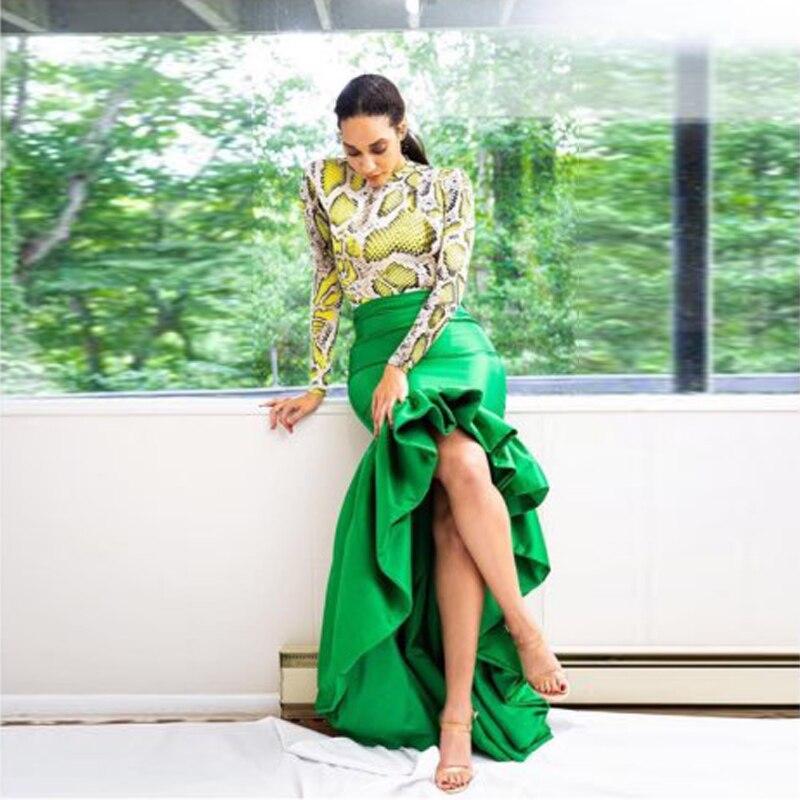 Emerald Green Hi-Lo Women Skirt Mermaid High Waist Ruffled Bottom Chic Long Prom Skirt Hi Low Asymmetric Party Skirt Saia Faldas