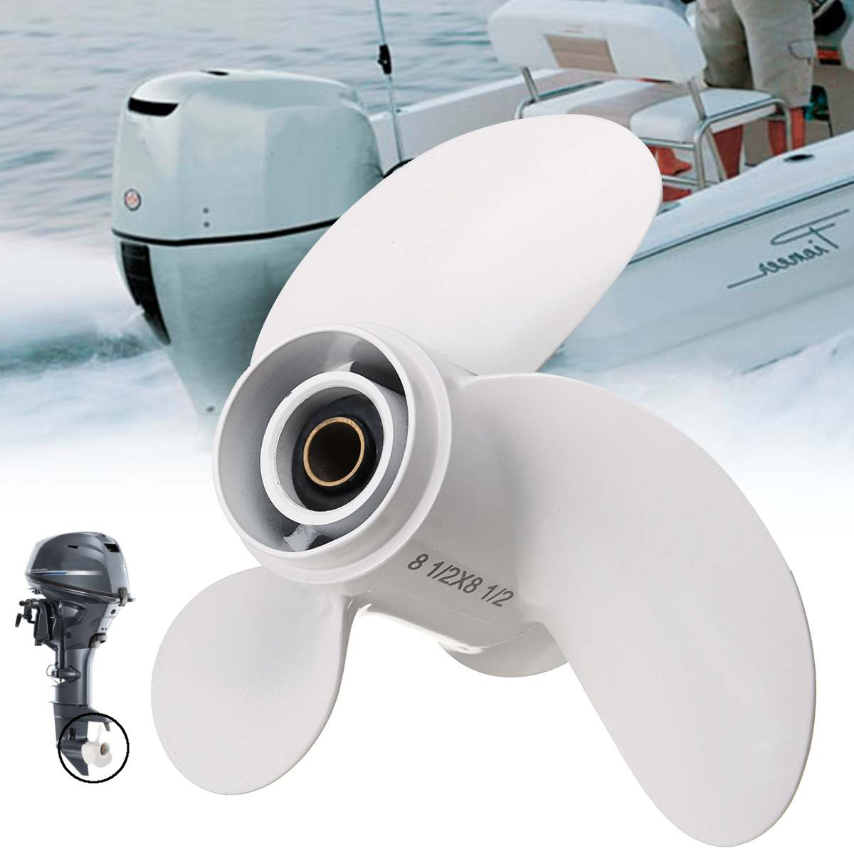 Aluminum Alloy 8 1/2 X 8 1/2 Boat Outboard Propeller For Yamaha 6-8HP 6G1-45941-00-EL 3 Blade 7 Spline Tooth Marine Propellers