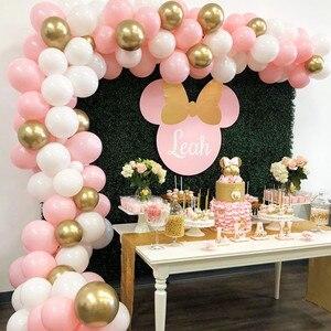 Image 4 - 100 pcs/Set Rosa Weiß Gold Luftballons Arch Garland Baby Dusche Bachelorette Geburtstag Partei Hintergrund Chrom Balon Dekoration Globos