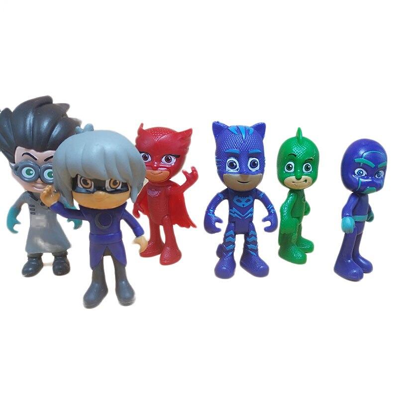 6 pçs/set Pj Pj Máscara 2018 Personagem Dos Desenhos Animados Máscaras Catboy OwlGilrs Gekko Máscaras Figuras Anime Figura Brinquedos para Presente de Crianças s08