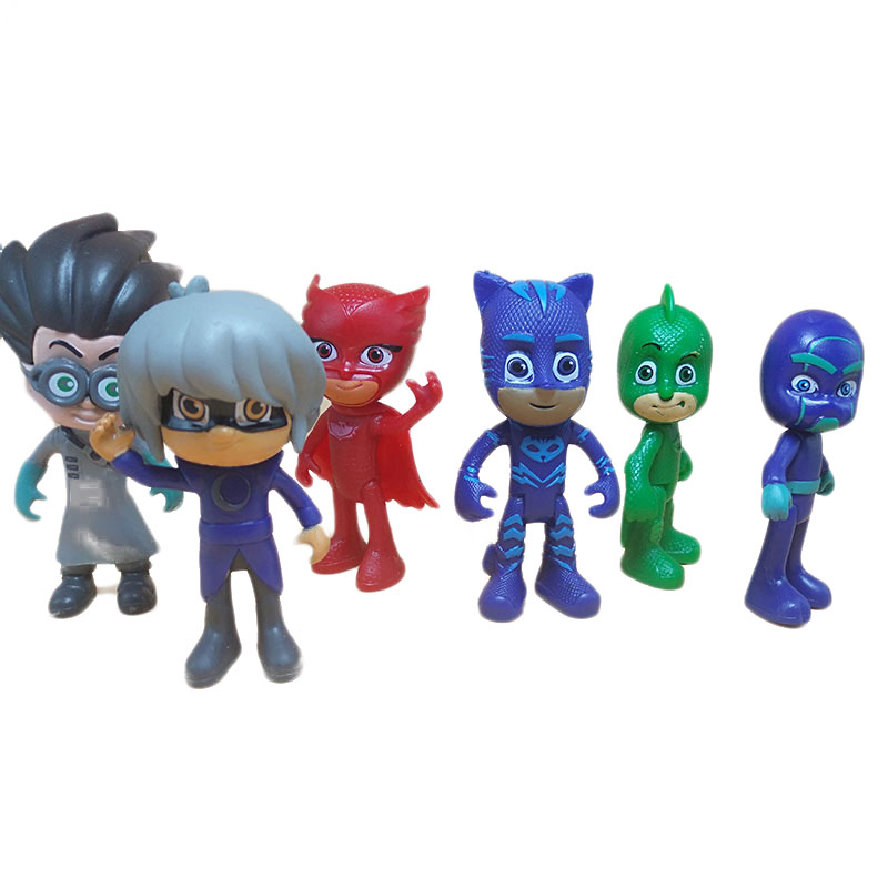 6pcs /set Cartoon Pj Mask 2018 Character Pj Masks Catboy OwlGilrs Gekko Masks Figures Anime Figure Toys For Children Gift S08