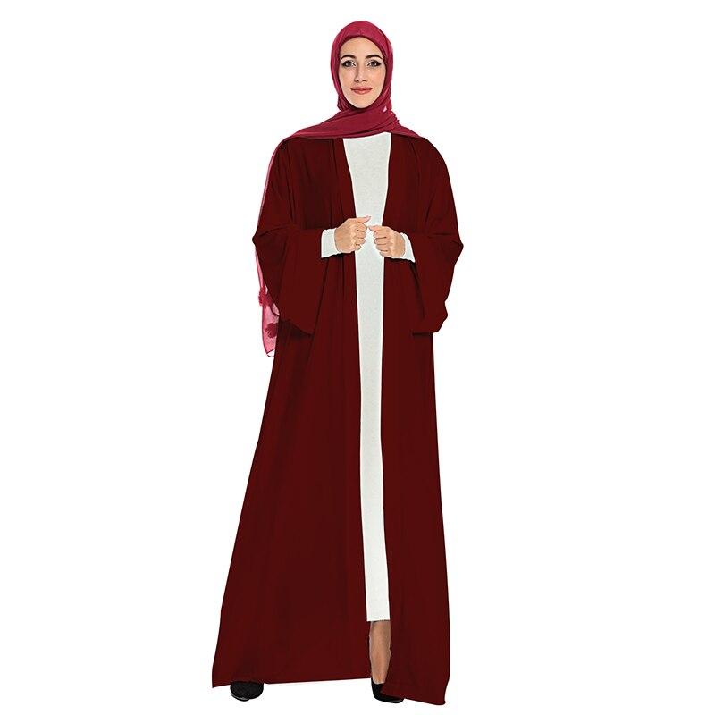 Solid Color Open Abaya Kimono Dubai Kaftan Islam Muslim Hijab Dress Jilbab Abayas For Women Caftan