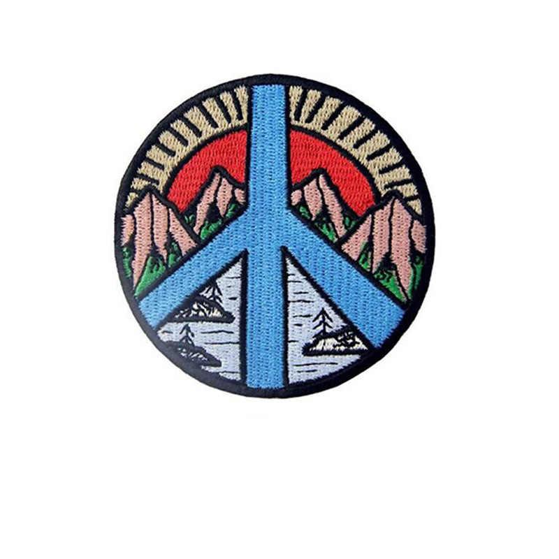 Alien Baru Gunung Rainbow Peace Love Bulan dan Matahari Bunga Besi Di Bordir Bentuk Bulat Patch untuk Pakaian Lencana Stiker