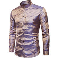 tail dress in silk and satin in 2019 wearing Necklace sleeves long sleeve men's shirt party night club wedding casual shirt