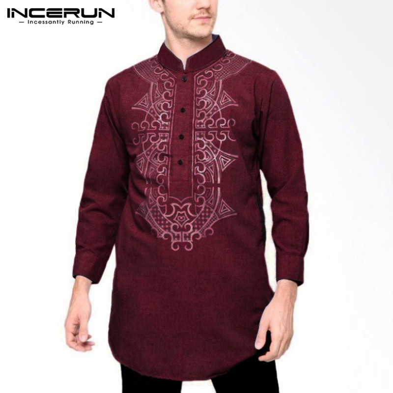 Indian Clothes Printed Men Shirt Vintage 2019 Stand Collar Long Sleeve Long Tops Casual Streetwear Mens Shirts Plus Size INCERUN